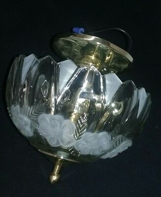 Vintage brass ceiling fixture lamp clear and frosted glass light shade