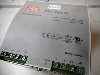 MEANWELL POWER SUPPLY -- 24DC at 10amps -- 400...500AC 3 Ph Supply -- DRT-240-24