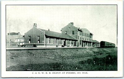 Pierre, South Dakota Postcard Chicago & North Western C&NW Railroad Depot c1910s