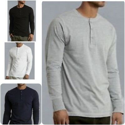 Mens Henley Shirt T-shirts shirts Long Sleeve Cotton Pullover Comfy Button