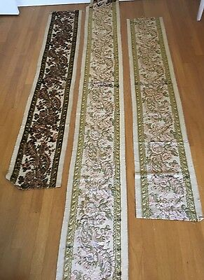 Antique French Woven Cut Velvet Brocade Fabric Fragments  Art Nouveau Tapestry