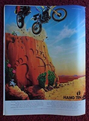 1982 Print Ad HANG TEN Clothes Fashions ~ Extreme Sports MOTOCROSS Bicycle ART