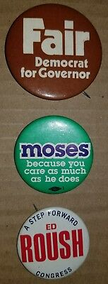 Fort Wayne, Indiana Political Buttons/pins. Fair, Moses,roush.