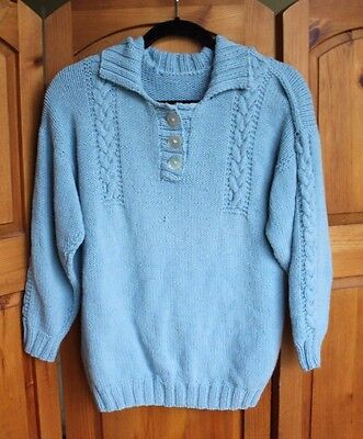 Vintage Handmade Soft Hand Knit Blue Pullover Jumper Sweater Stretchy Cable Knit
