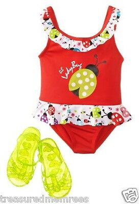 Wippette One Piece Ladybug Swimsuit & Jelly Sandals ~ Size 12 Months ~ NWT $30.