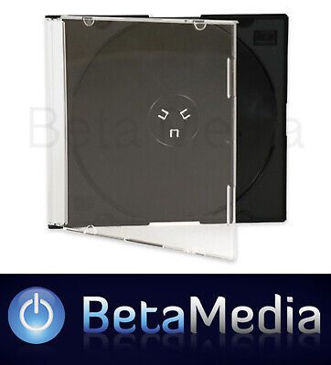 50 x Single Slim Jewel CD Cases with Black Tray - 5.2mm Slimline Spine covers