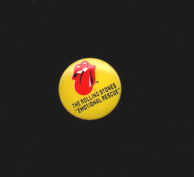 ROLLING STONES ~ PIN BUTTON BADGE ~ EMOTIONAL RESCUE. 3cms. Orig 1980. NM.