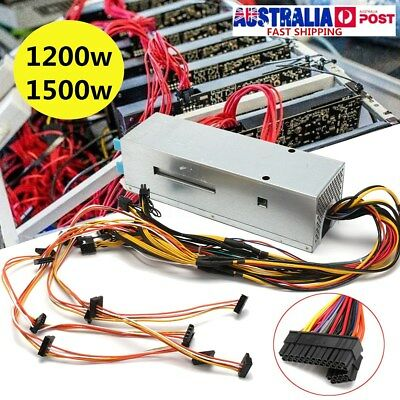 1200/1500W 24Pin Mining PSU Power Supply Cables For Bitcoin Mining Ethereum