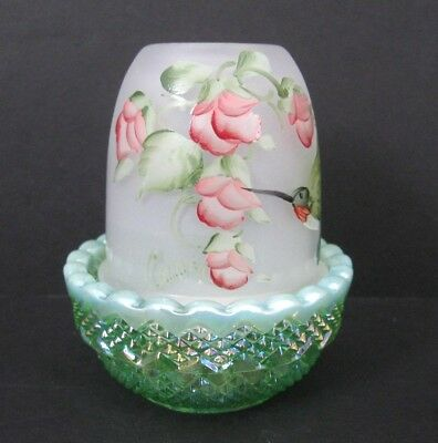 Mosser Glass Fairy Lamp Hp Hummingbird Floral On Green Opal Iridized Base + Gift