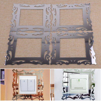 4x Mirror Flower Vine Light Surround Switch Sticker Cover Decal Frame Wall Skin