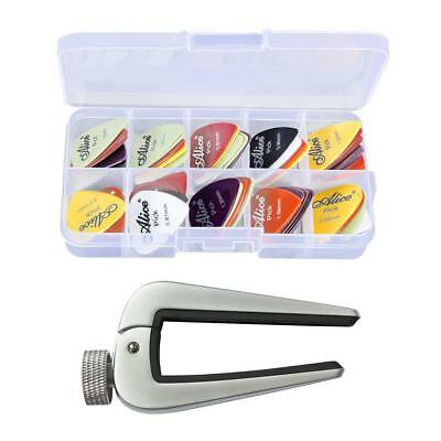 Zinc Alloy Guitar Capo Curved Capotraste with 24pcs Picks for Guitar Parts