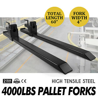 """Clamp on Pallet Forks Loader Bucket 4000lbs Capacity 43"""" Skidsteer Tractor Chain"""