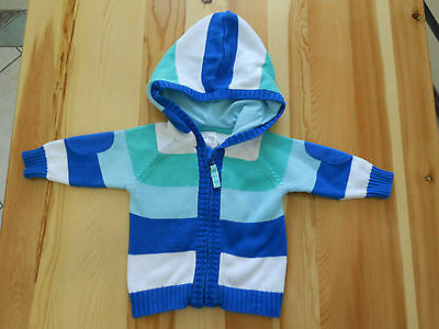 Boys knitted jacket coat cardigan w lined hood Size 000 green blue white stripes