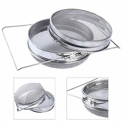 Stainless Steel Beekeeping Double Honey Sieve Strainer Filter Apiary Equip Tool