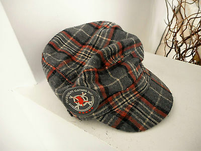 Pumpkin Patch boys tartan military cap warm winter Size M 53 cm grey orange