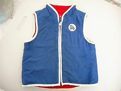 Sprout Size 1 baby boys padded vest blue w red fleece lining Zip front tip truck