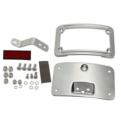 Curved License Plate Frame Holder Mount W/ Reflectors For Harley Softail KY