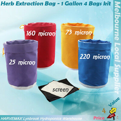 1 Gallon 4 Bags Filtration Set Oil / Herbal Extraction Kit Hydroponics Ice Bag
