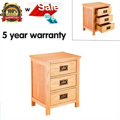 Bedside Bedroom Table Solid Oak Diy Unit Cabinet Nightstand With 3 Drawers Sale
