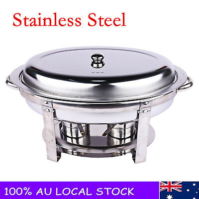 Oval Stainless Steel Chafing Dish Buffet Stove Restaurant Food Pan Luxury Style