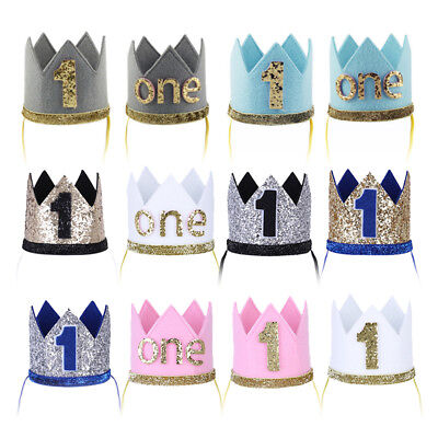 EG/_ Baby Girl Boy Pom Pom Shiny Crown Headband Birthday Hair Accessory Prop Sanw