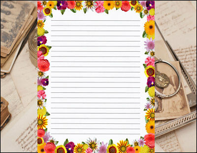 floral bordered design lined stationery writing set 25 sheets 10
