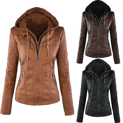 Women PU Leather Winter Slim Hooded Parka Jacket Biker Trench Coat Warm Outwear