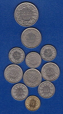 Swiss SILVER COINS : (x11) - all 6 denominations - for Collectors or travellers*
