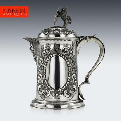 ANTIQUE 19thC VICTORIAN SOLID SILVER LARGE FLAGON, CHARLES BOYTON II c.1896