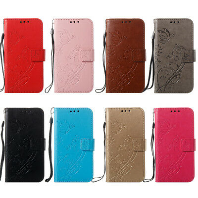 Shockproof Emboss Pattern Flip Card Slot Leather Wallet Case For Samsung Galaxy
