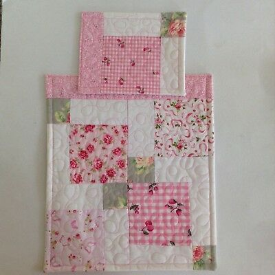 Doll's Quilt & Pillow set Pink/white floral fabric Pram Cot Handmade girl