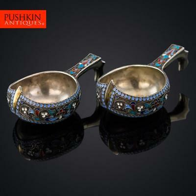ANTIQUE 19thC RUSSIAN SOLID SILVER & ENAMEL PAIR OF KOVSH, MOSCOW c.1895