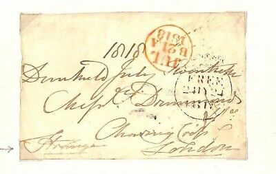AX251 1818 GB IOM Isle Of Man Governor Autograph *Strange* Free Franked Front