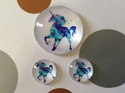 Set of 1 x 25mm &  2 x 12mm glass dome cabochon  - Blue unicorn horse