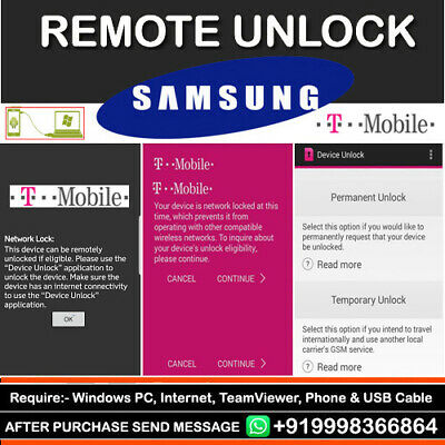 Instant T-Mobile Remote Device Unlock App Service Samsung Galaxy Note 8 S8/S8+