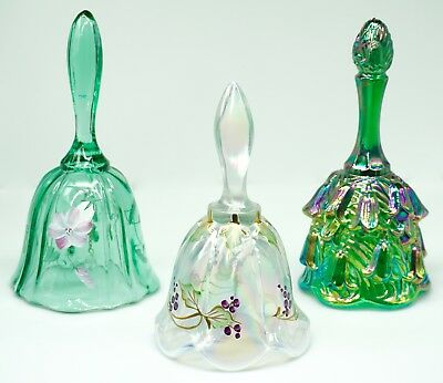 Three Fenton Glass Bells Green Hand Painted Temple Bells Lily of the Valley