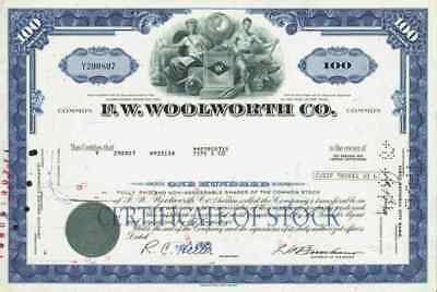F. W. Woolworth 1970 New York Merrill Lynch Kaufhaus Historische Wertpapiere 100