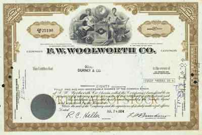 F. W. Woolworth 1974 New York Kaufhaus Less 100 shares Historische Wertpapiere