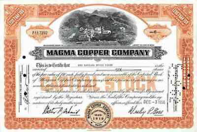 Magma Copper Comp. 1956 Maine Superior Webster Newmont Mining Ely Nevada less100