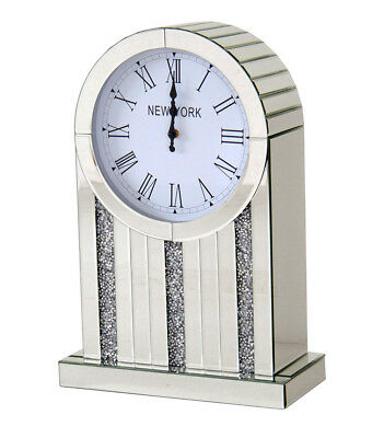 Rounded Mirrored Crystal Diamante Jewel Gem Large Mantle Clock New York Theme