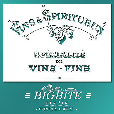 Shabby Chic STENCIL: French Vins & Spiritueux Advert (DIY Furniture Print) #001