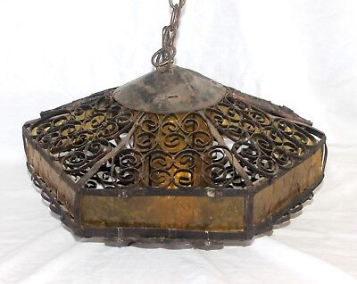 Vtg GOTHIC Wrought Iron Hanging Pendant LIGHT FIXTURE Spanish Revival Amber Glas
