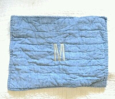 Pottery Barn Kids Baby Toddler pillow sham Remy Belgian Flax Linen Blue Chambray
