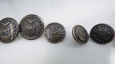 Vintage Set 8 Waterbury B&S Military Silver Buttons Air Force Eagle Shield Stars
