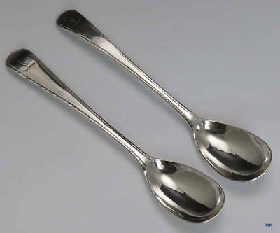 Pair 1770-1780 Antique English Sterling Silver Mustard Spoons