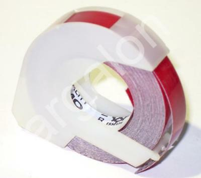 """DYMO Embossing Tape 5201-02 Glossy Red 3/8"""" x 12 Ft NEW Label Labeling"""