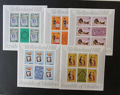 Maldives 1979 Death Rowland Hill SG806/10 IMPERF sheetlets UM MNH unmounted mint