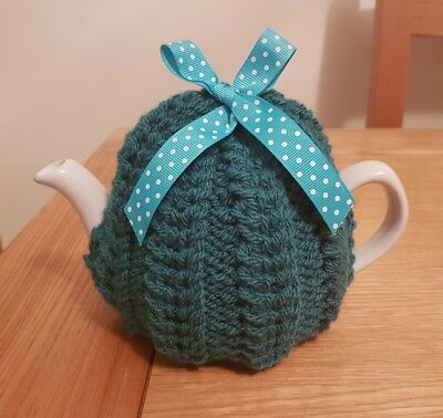 Hand Knitted 1 - 2 Cup Tea Cosy - Petrol Blue (Teal)