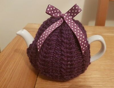 Hand Knitted 1 - 2 Cup Tea Cosy - Loganberry (Purple)