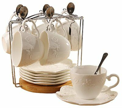 Porcelain Tea Cup and Saucer Coffee Cup Set with Saucer and Spoon, Set of 6